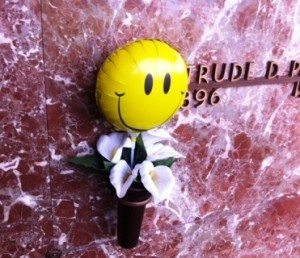 A smiley-face balloon serves as a lasting tribute to a departed loved one at the Fairmount Mausoleum. (Photo by Michael Freeman).
