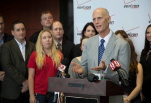 During a press conference in Orlando on Friday, Gov. Rick Scott talked about improvements in the state and local economy. (Photo courtesy of the governor's office.)