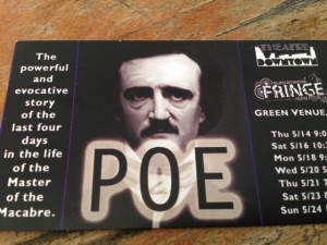 "Theatre Downtown's production of the play ""Poe"" is now at the Orlando International Fringe Theatre Festival."