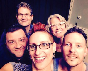 """The cast and crew of the upcoming Fringe Festival play """"Murder Sleep."""" Top is directors Jim Cundiff and Laurel Clark; below is cast members Mickey Layman, Sara Cutlip and Steven Johnson."""