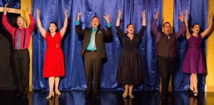 "Priscilla Bagley, Michael Colavolpe, Kayla Kelsay Morales, Joshua Kolb, Ben Ptashinsky, and Kelly Morris Rowan star in the Winter Park Playhouse's production of ""Showtune."" (Photo courtesy of Oxley Photography.)"
