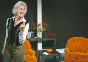 "Carol Adams plays Stella Goldschlag in the play ""Blonde Poison."""