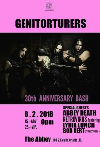 The Genitorturers will be coming home to Orlando on Thursday for a concert at The Abbey.