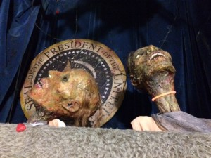 "Puppets help describe the bizarre tales in ""Assassinations and Other macabre Tales."""