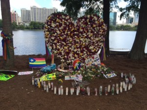 This memorial to the victims of the Pulse nightclub massacre was set up at Orlando's Lake Eola Park. (Photo by Michael Freeman).
