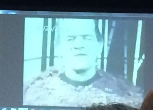Boris Karloff is shown wearing his famous Frankenstein makeup during home movies shown by his daughter, Sara Jane Karloff, at the American Mensa 2016 Annual Gathering.