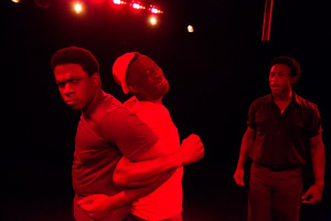 """Stelson Telfort, Clinton Harris and Jim Braswell star in Mad Cow Theatre's production of Tarell Alvin McCraney's play """"The Brothers Size."""""""