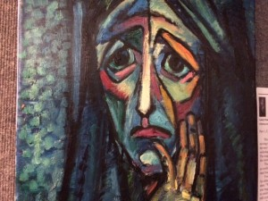 """Lonely Woman"" is a painting by Nadia Werbitzky, part of an exhibition of her work on display at the Holocaust Memorial Resource & Education Center in Maitland."